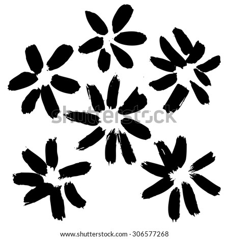 Vector hand-painted ink illustration with brush strokes. Flowers. Abstract background.
