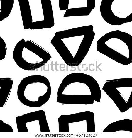 Vector hand-painted seamless pattern with ink brush strokes. Abstract background.