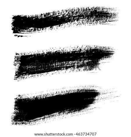 Vector hand painted set isolated grunge black paint brush splash. Ink grunge shapes.