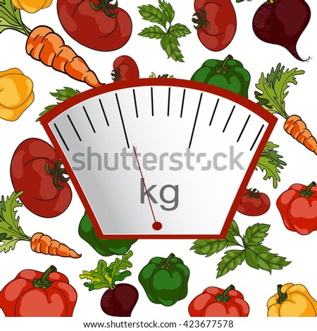 Vector. Hand-painted. The concept of weight loss, healthy lifestyles, diet, proper nutrition. Vegetable and scales.  - stock vector