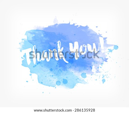 Vector hand painted watercolor greeting card - Thank you - stock vector