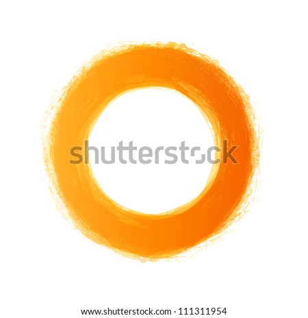 Vector hand-painted yellow circle - stock vector