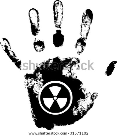 vector hand print with radiation danger symbol