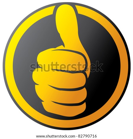 Vector hand showing thumbs up button (icon) - stock vector