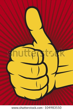 Vector hand showing thumbs up (Human hand giving ok ) - stock vector