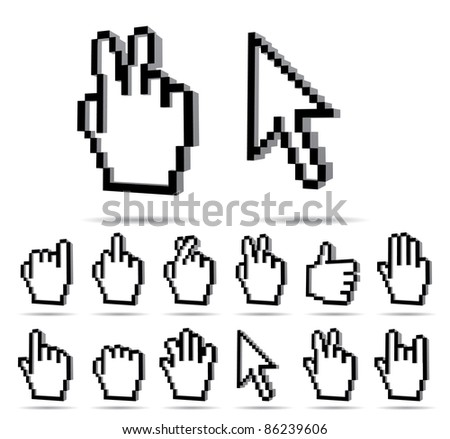 Vector Hand sign and arrow cursor - stock vector