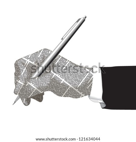 Vector hand silhouette of newspaper columns texture with pen. All texts are unreadable. - stock vector