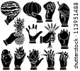 Vector hand with fruit silhouettes set - stock vector