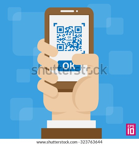 Vector hand with phone, scan QR code illustration.  - stock vector
