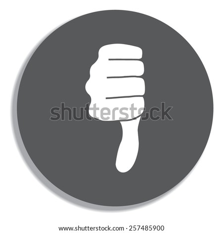 Vector hand with thumb down icon on a grey background