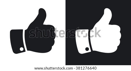 Vector hand with thumb up icon. Two-tone version on black and white background