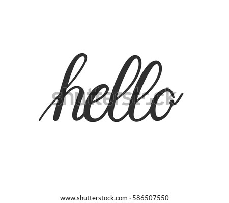 Hello Calligraphic Lettering Outline Hand Drawn Stock