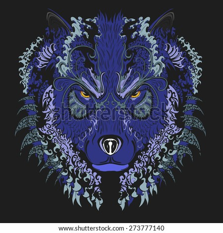 Vector handdrawn wolf with vintage ornament  - stock vector
