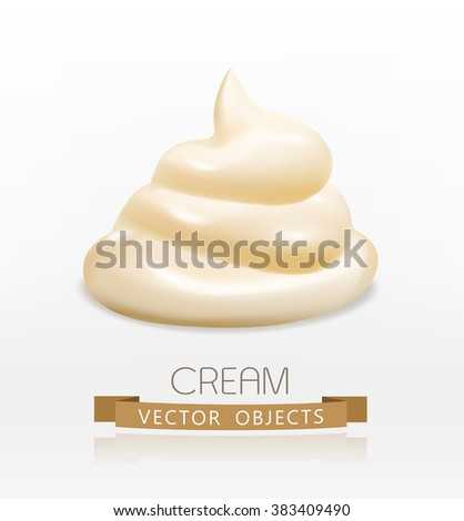 vector handful cream (mayonnaise) swirl, isolated on white background