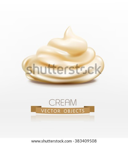 vector handful cream (mayonnaise) swirl, isolated on white background - stock vector