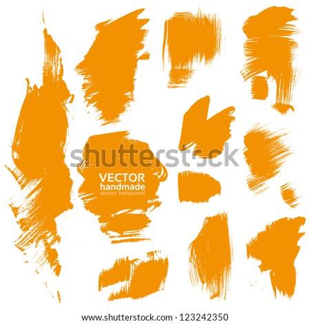 Vector handmade by brush orange paint texture - stock vector
