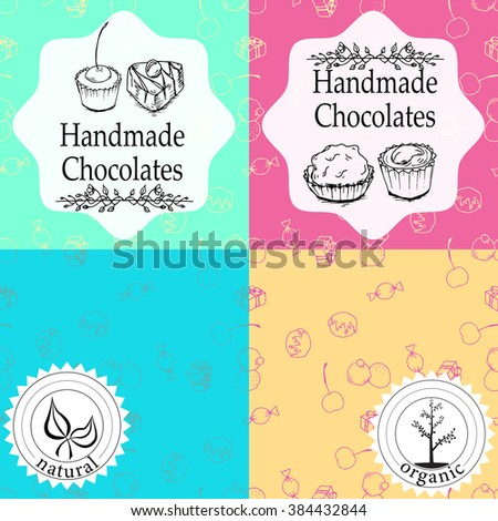 Vector handmade chocolates packaging templates and design elements for candy shop - cardboard with emblems and logos and seamless patterns.