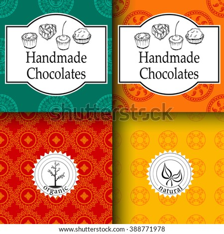 Vector handmade chocolates packaging templates and design elements for candy shop - cardboard with emblems, logos and seamless patterns. Packaging design template, packaging design food, design vector - stock vector