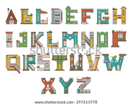 Vector handmade font in cartoon style. The letters are made in the form of houses. Illustration for education or design. Perfect poster for kids room.  - stock vector