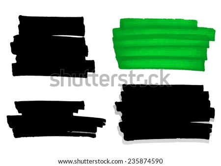 Vector handmade marker stripes set - stock vector