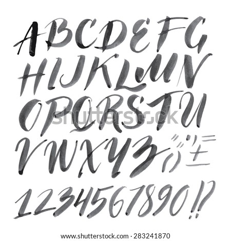 Vector handmade Roman alphabet - drawn by ink and brush