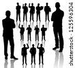 Vector handmade silhouettes of business people in different poses - stock vector