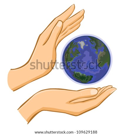 vector hands and earth isolated on white background - stock vector