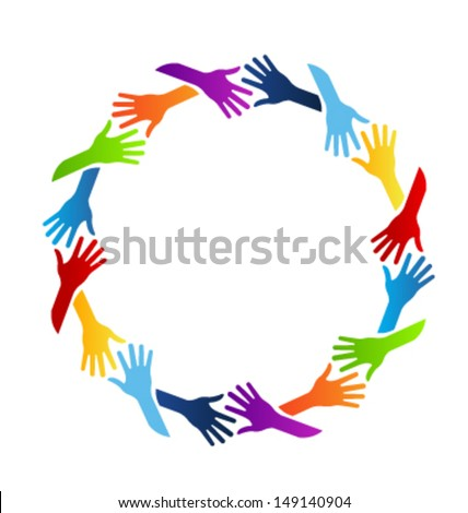 Vector Hands Circle Community - stock vector
