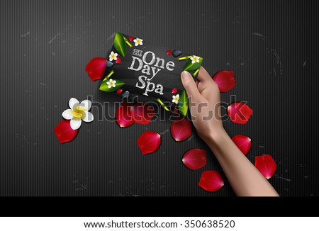 Vector hands holding gift card. spa day card in hand background with rose petals. rose - stock vector