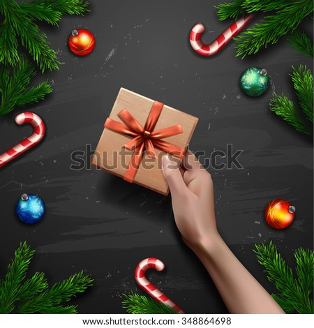 Vector hands holding gift. gift box in hand background  Christmas Greeting Card with gift box - stock vector