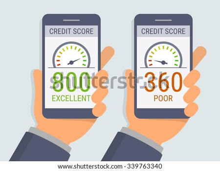 Vector hands holding smartphones with credit score app on the screen in flat style - stock vector