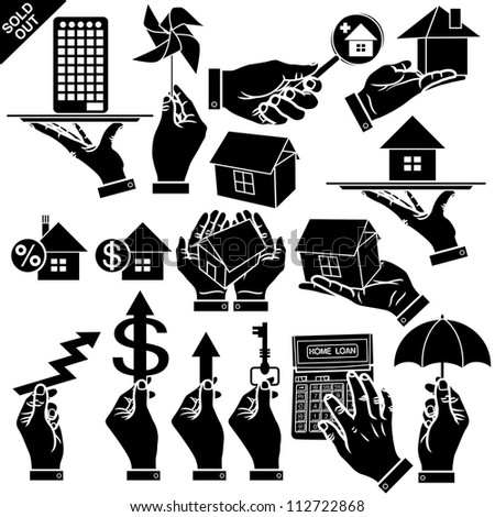 Vector hands & houses real estate silhouettes set - stock vector