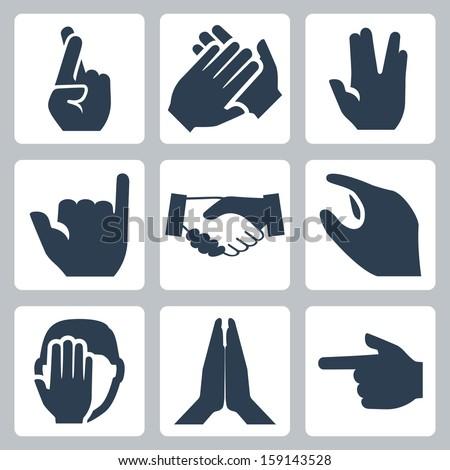 Vector hands icons set: cross fingers, applause, vulcan salute, shaka, handshake, size, facepalm, namaste, pointer - stock vector