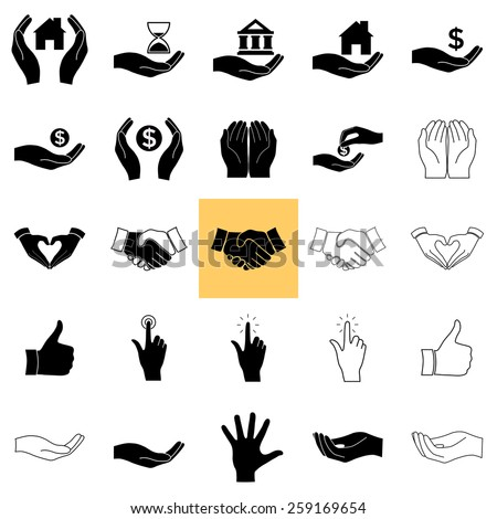 Vector hands  icons, set: Handshake; Hand click; Heart shape made with hands; Helping hand silhouette; Receiving money; Hands holding money, home, bank, hourglass. - stock vector