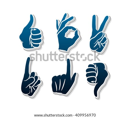 Vector hands icons set. Like. Dislike.