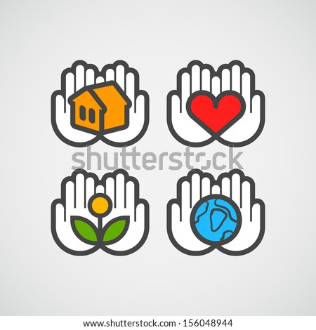 Vector hands icons with ecology - stock vector
