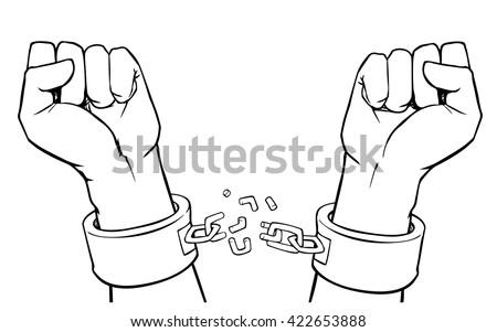 vector hands in shackles with broken chain