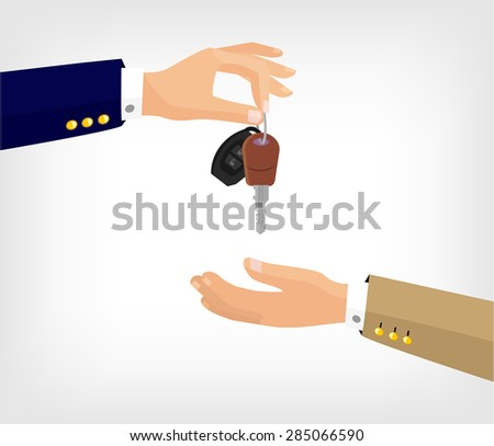 Vector hands with key flat illustration - stock vector