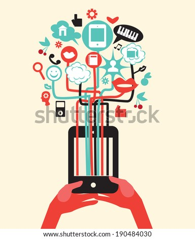 Vector hands with tablet pc or mobile phone with internet icons social media illustration  - stock vector