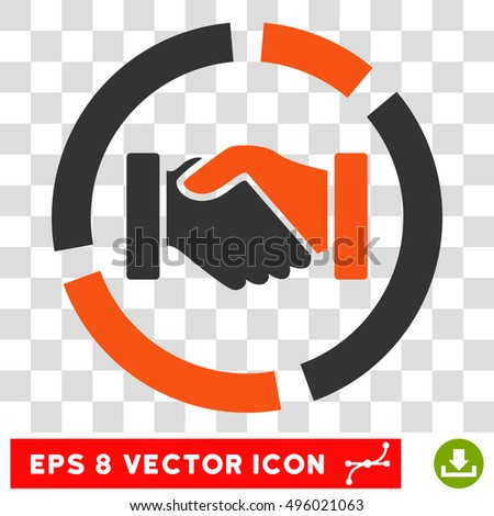 Vector Handshake Diagram EPS vector icon. Illustration style is flat iconic bicolor orange and gray symbol on a transparent background.