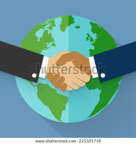 Vector handshake on earth globe in flat style.  - stock vector