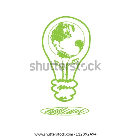 vector handwriting sketch earth in the lamp : ecology concept - stock vector