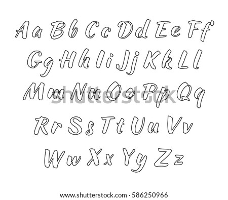 Vector Handwritten Alphabet Uppercase And Lowercase Letters Black Print On White Background Outline
