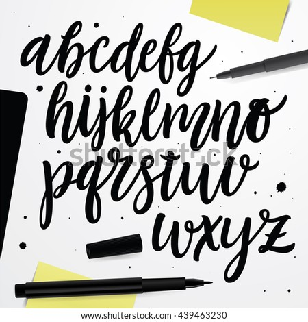 Vector handwritten brush script. Black letters on white background. Brush style modern calligraphy typeface. Hand Lettering and Typography alphabet for: Logos, Packaging Design, Poster, Invitations. - stock vector