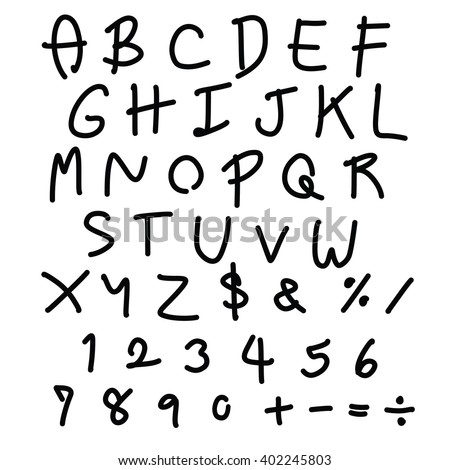 Vector Handwritten Fonts Alphabet Black Hand Drawn Letter And Number