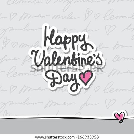 vector handwritten text, happy valentine's day - stock vector