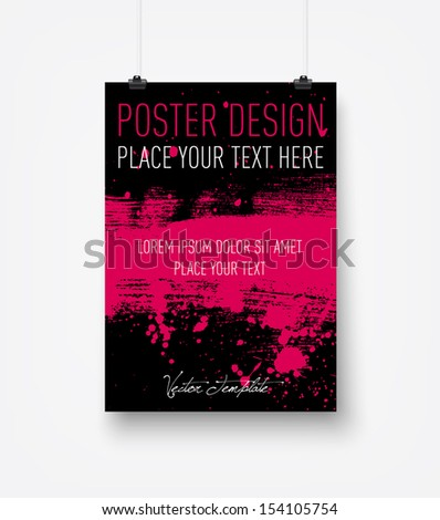 Vector hanging poster design template - stock vector