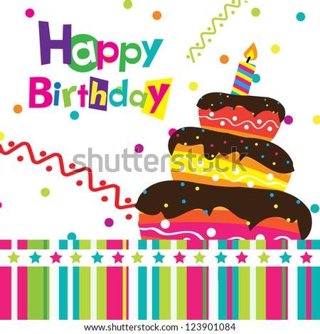 vector happy birthday card - stock vector