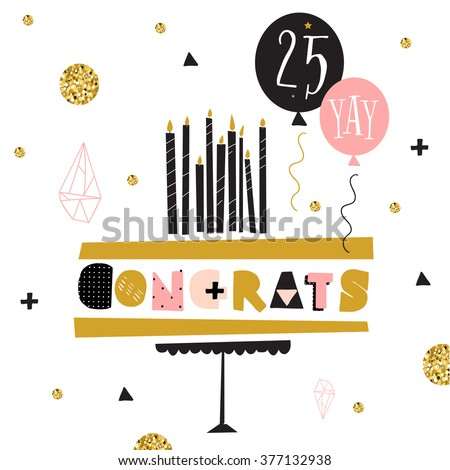 Vector Happy Birthday Card Modern Hipster Stock Vector 377132938