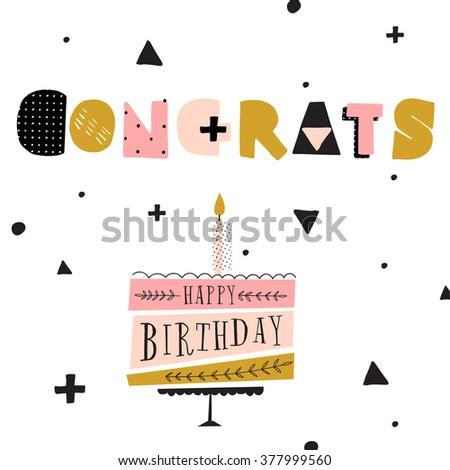 Vector Happy Birthday Card Modern Hipster Stock Vector 377999560